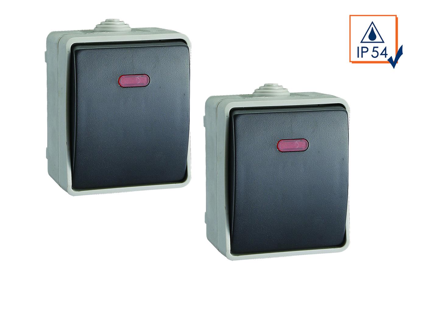 2er-Set beleuchtete Aufputz-Tasterschalter / Kontrollschalter für Feuchträume