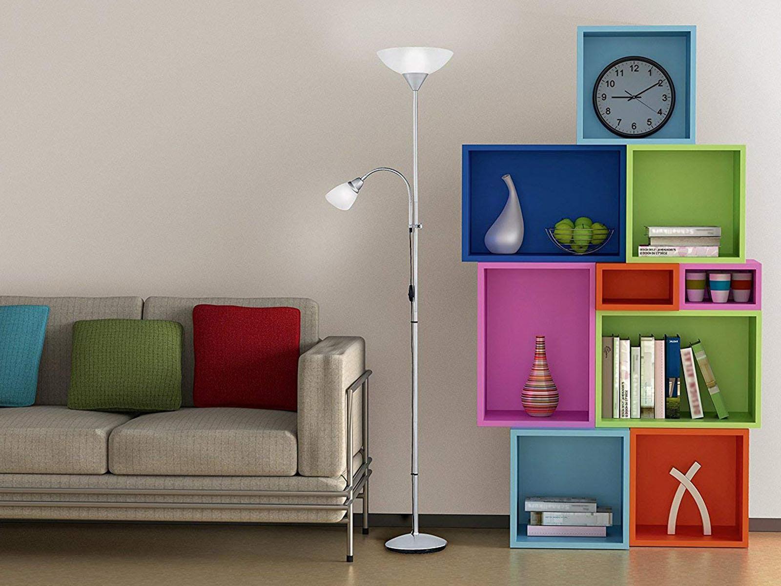 Moderne Standlampen mit rundem Schirm in weiß Deckenfluter fürs Wohnzimmerlampen