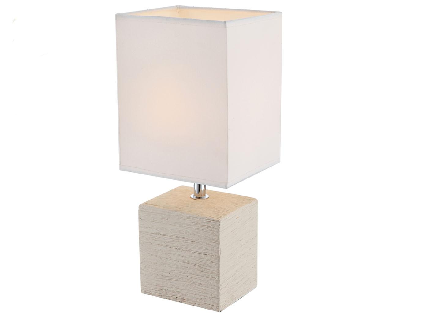 Globo Tischleuchte GERI Keramik Stoff Weiss Kleine Wohnzimmerlampe