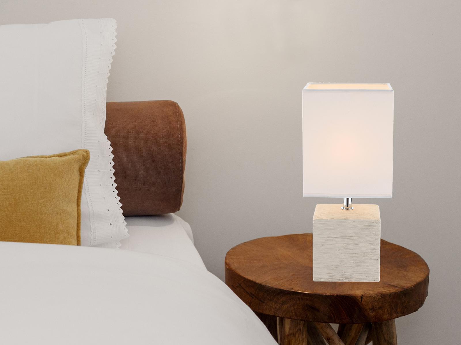 Das Bild Wird Geladen Globo Tischleuchte GERI Keramik Stoff Weiss Kleine Wohnzimmerlampe