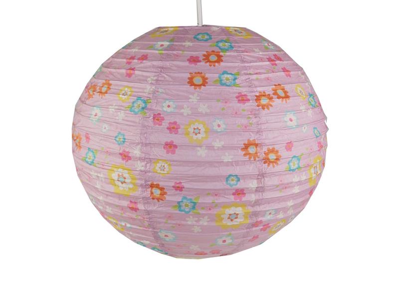 Kinder papierlampe bl mchen muster - Papierlampe kinderzimmer ...