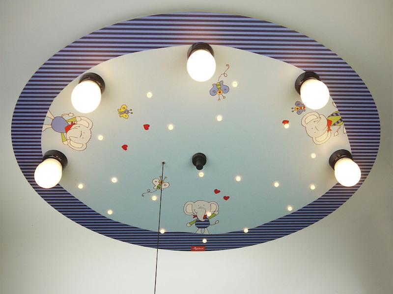 Deckenlampe Mit Zugschalter ~ Ledkinder deckenlampe bunte elefanten mit led schlummerlicht