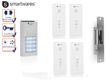 set vierparteien gegensprechanlage mit t r ffner smartwares. Black Bedroom Furniture Sets. Home Design Ideas