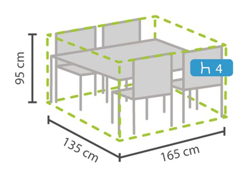 Perel Schutzhülle Abdeckung Rechteckig Für Gartenmöbel, 165x135cm,  Witterungsbeständig