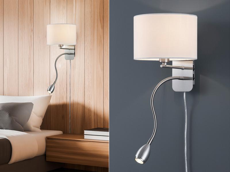 trio wandlampe mit stoff lampenschirm wei leselampe. Black Bedroom Furniture Sets. Home Design Ideas