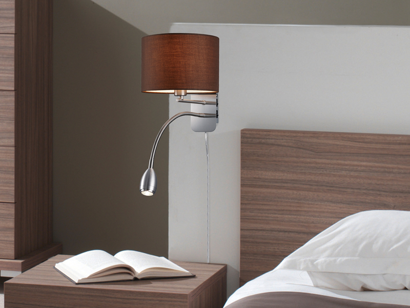 trio wandlampe mit stoff lampenschirm braun leselampe. Black Bedroom Furniture Sets. Home Design Ideas