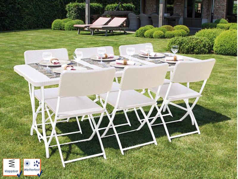 Stabiles Gartenmöbel Set Mit 6 Stühlen Aus Kunststoff, Klappbar, Weiß