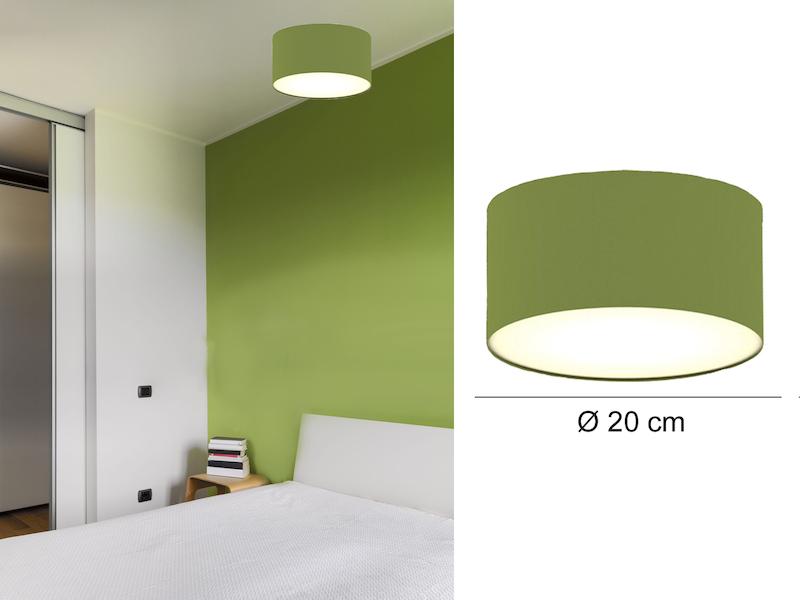 Moderne Deckenlampe, Stoff Grün/Abdeckung Satiniert, Ø 20 Cm, CEILING DREAM