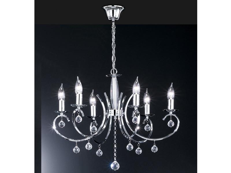 Honsel Modern Designter Kronleuchter In Chrom, Glasbehang, Ø 62cm, SALA
