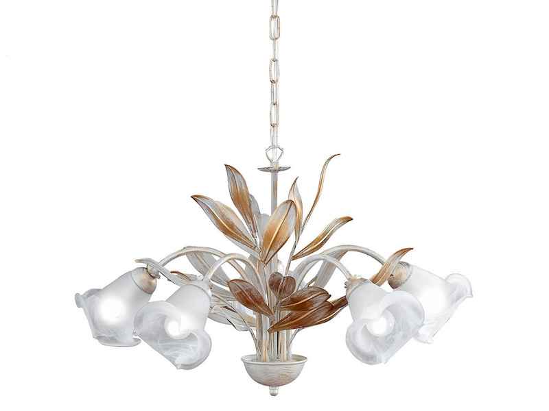 Kronleuchter Mit Schirm Weiß ~ Kronleuchter aus nikel farbe mit weiss lampenschirm reccagni store