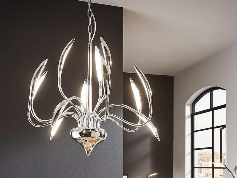 Dimmbare LED Pendelleuchte HAMPTON, Kronleuchter Modern Ø 70 Cm, Chrom  Poliert