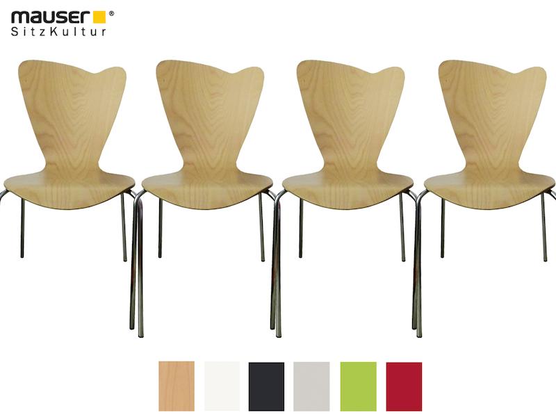 Mauser Sitzkultur 4er-Set Stühle Heart buche - setpoint.de