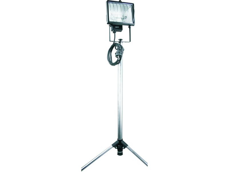 elro halogenscheinwerfer 400w mit stativ sicherheitsglas alugrau ip54 2 5m kabel. Black Bedroom Furniture Sets. Home Design Ideas