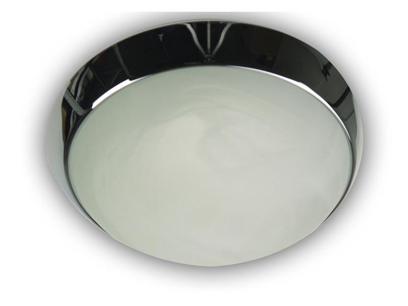 deckenleuchte glas alabaster mit dekorring in chrom. Black Bedroom Furniture Sets. Home Design Ideas