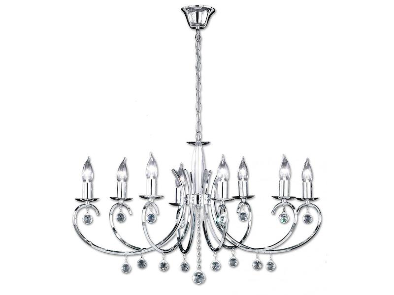 Schon Honsel Modern Designter, 8 Flammiger Kronleuchter In Chrom, Glasbehang,  83x60cm, SALA