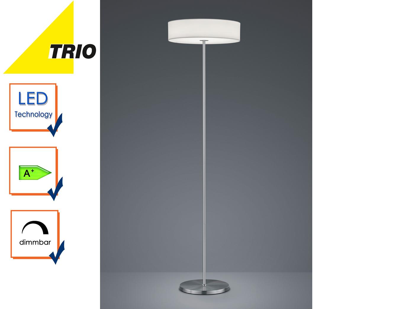 Trio led design stehlampe lugano dimmbar stoffschirm weiß