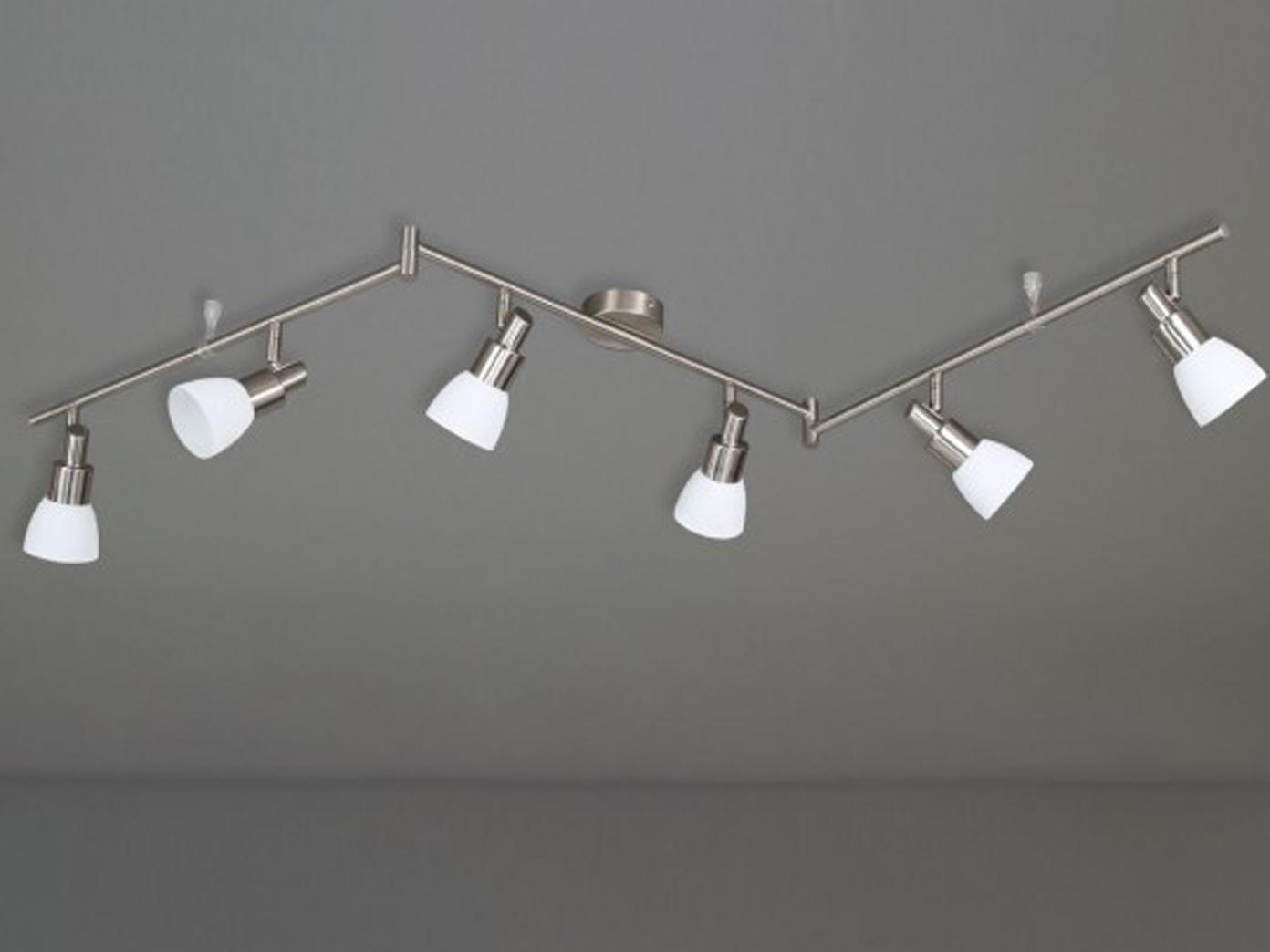 led deckenleuchte 6 flg schwenkbar nickel matt wofi leuchten ebay. Black Bedroom Furniture Sets. Home Design Ideas
