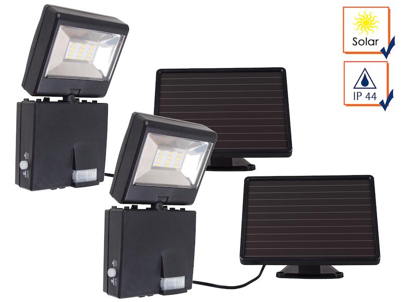 2er set led strahler mit 120 bewegungsmelder solar panel samsung leds ip44 ebay. Black Bedroom Furniture Sets. Home Design Ideas