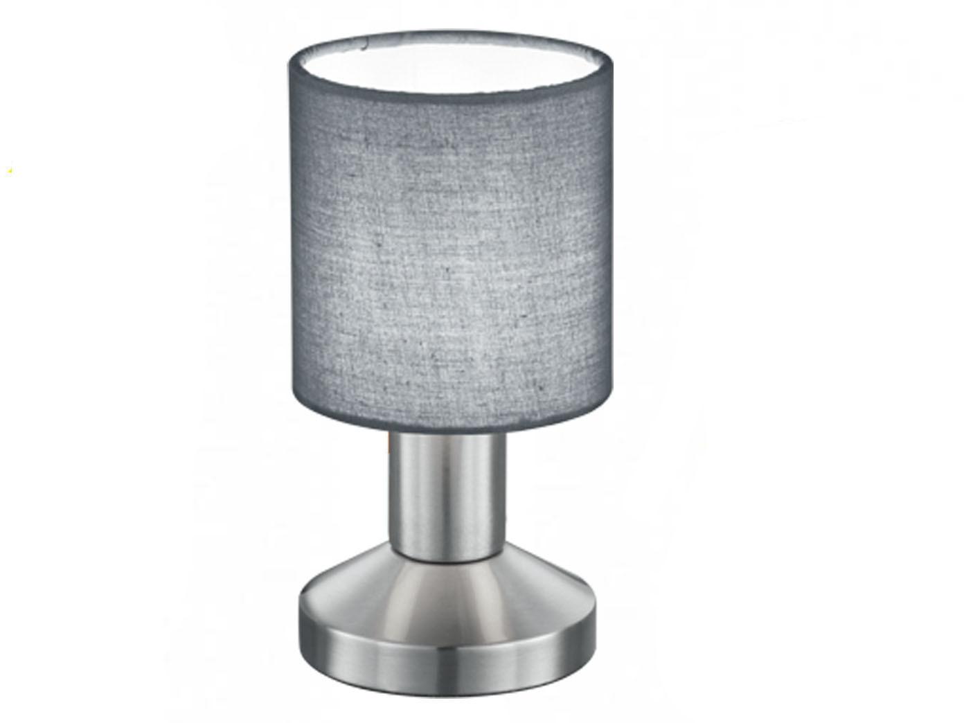 Tischlampe GARDA Lampenschirm Stoff grau, Tischleuchte ...