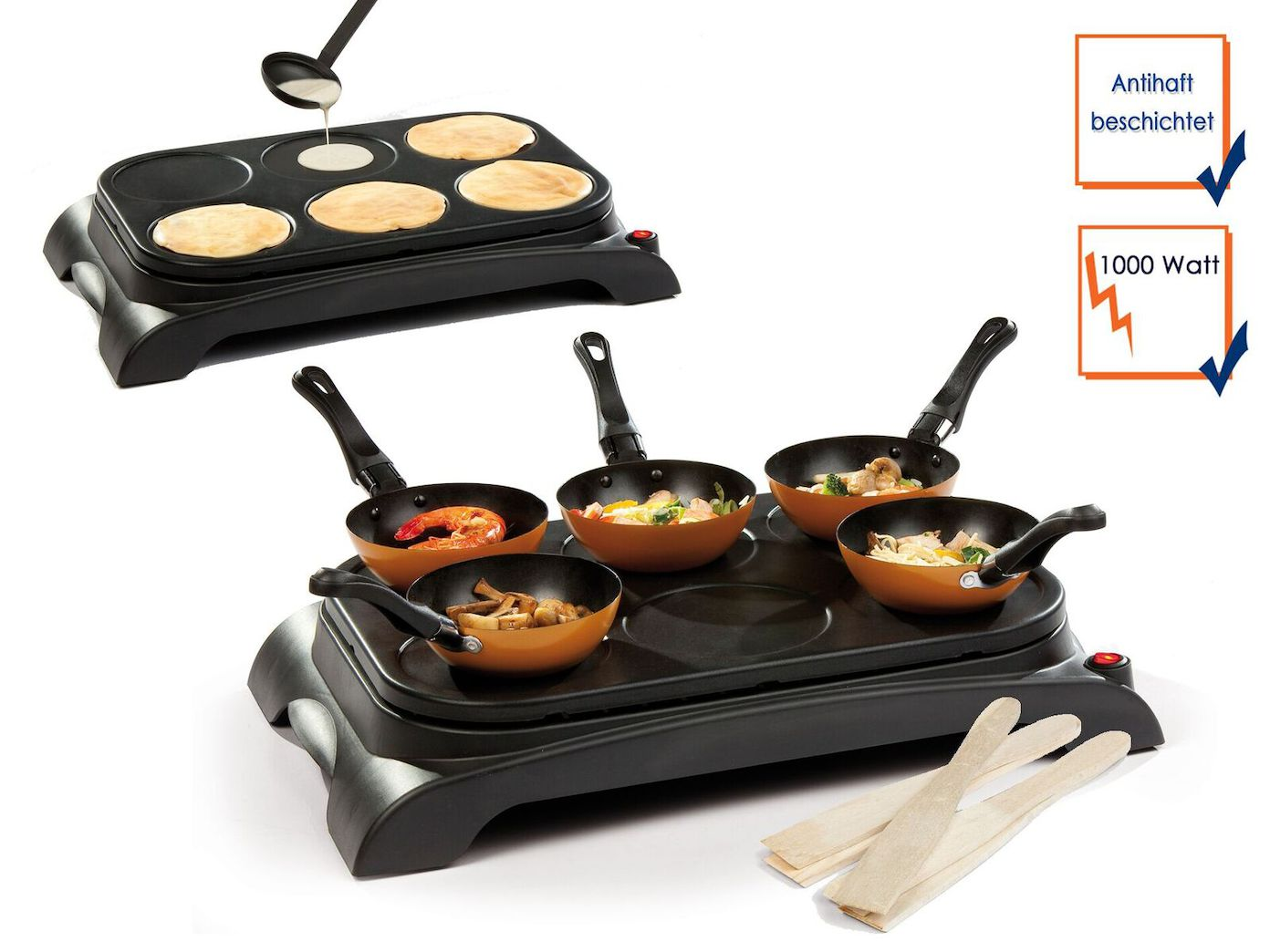 party wok set mit 6 pf nnchen pfannkuchen maker und holzspatel crepe wock ebay. Black Bedroom Furniture Sets. Home Design Ideas