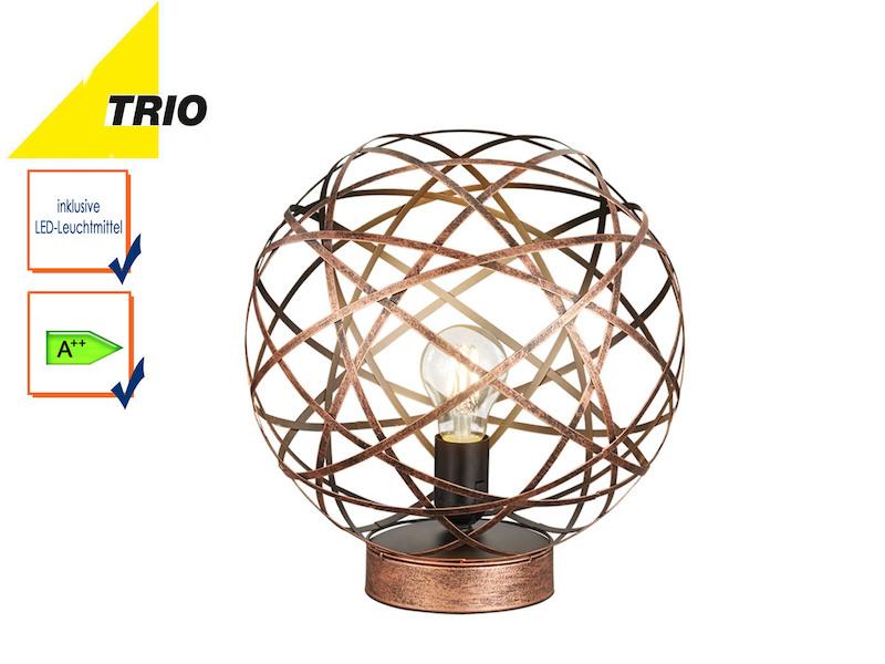 trio kugel tischleuchte jacob 30cm mit led design kupfer antik wohnzimmerlampe ebay. Black Bedroom Furniture Sets. Home Design Ideas