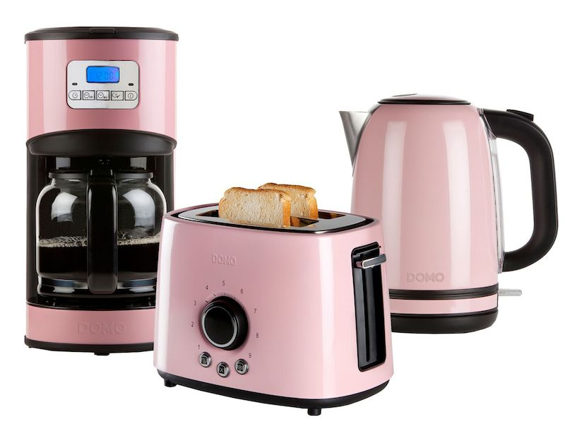 Fr hst cksset im retro design pastell rosa kaffeemaschine for Wasserkocher retro design