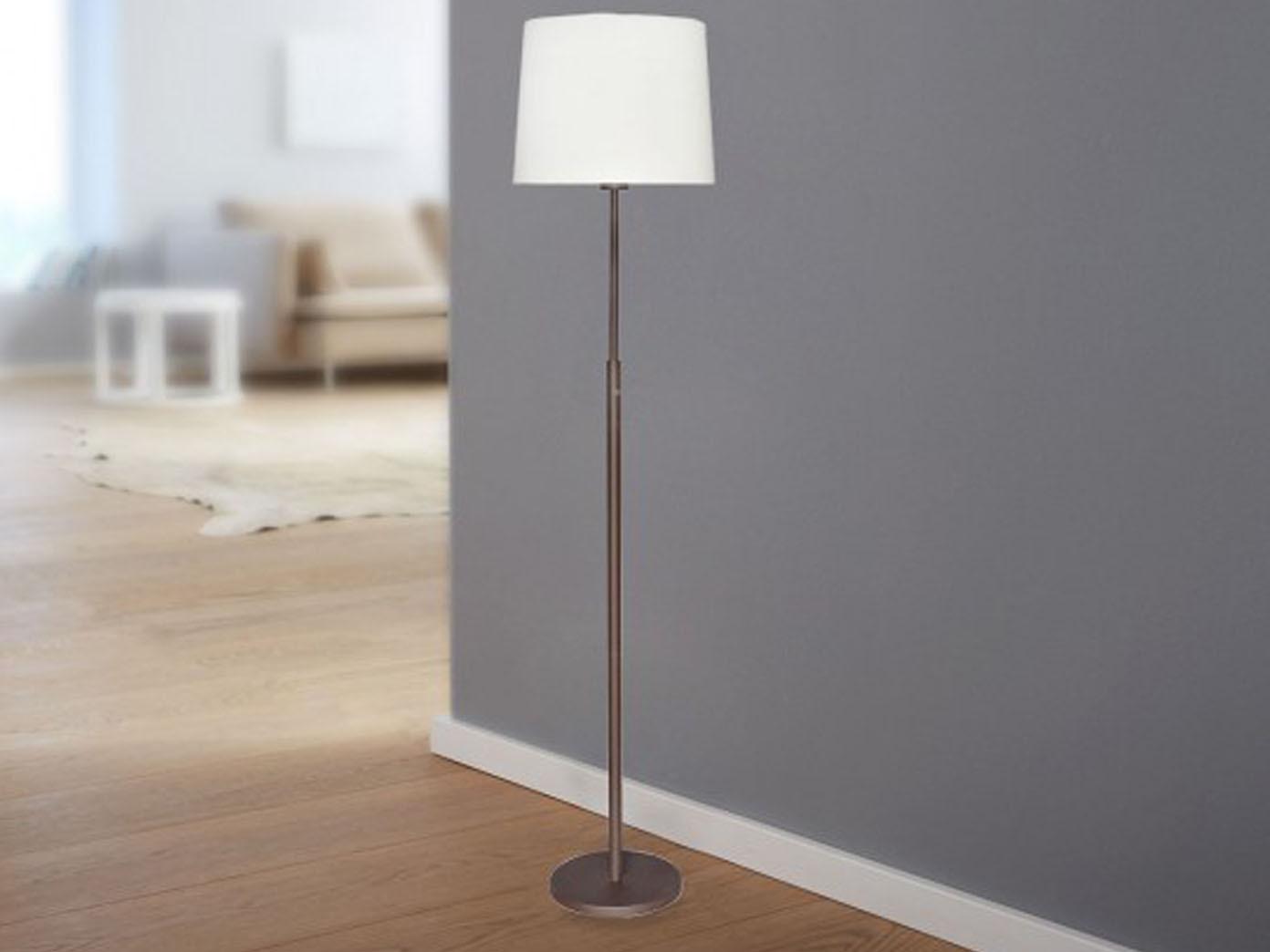 Led stehlampe hilver bronze stoffschirm weiß touchdimmer