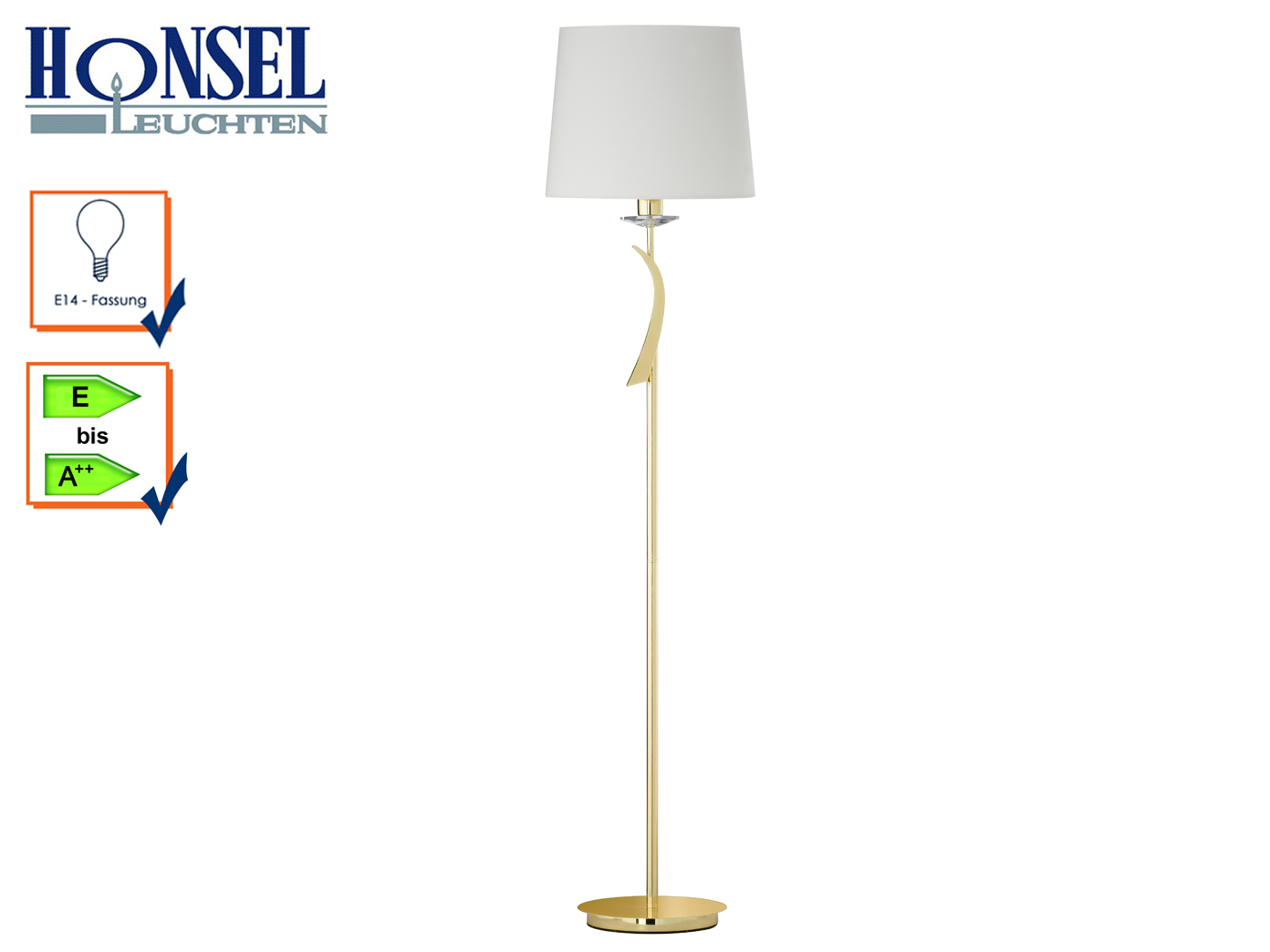 Standlampe Messing Poiert Stoffschirm Weiss H 150cm Schlafzimmer Flur