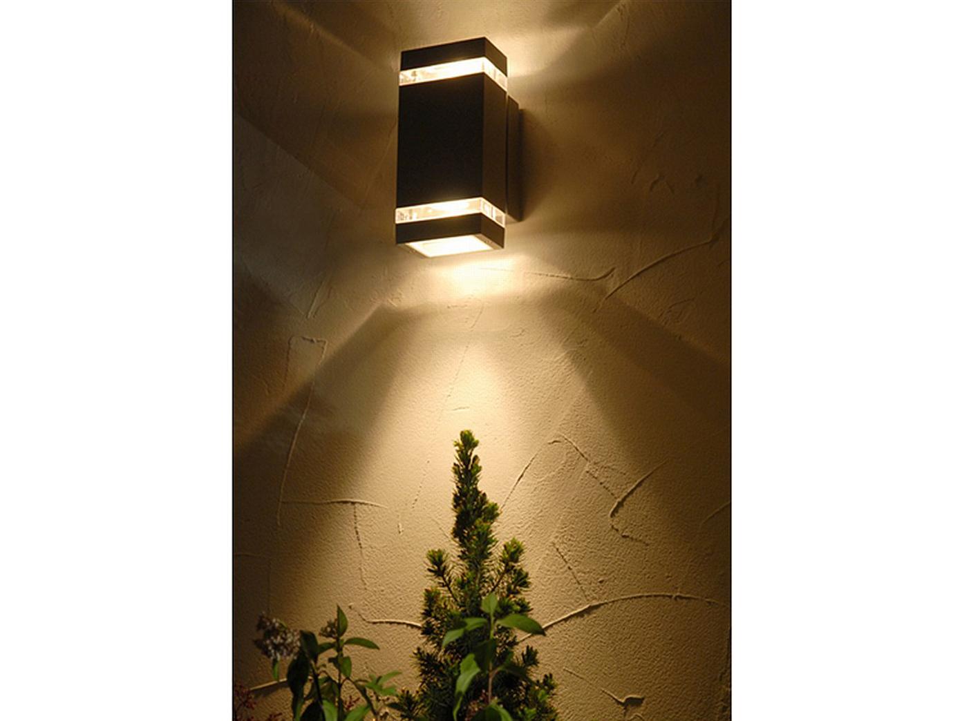 2 wandleuchten au en eckig up downlight led aluminiumguss au enleuchte ebay. Black Bedroom Furniture Sets. Home Design Ideas