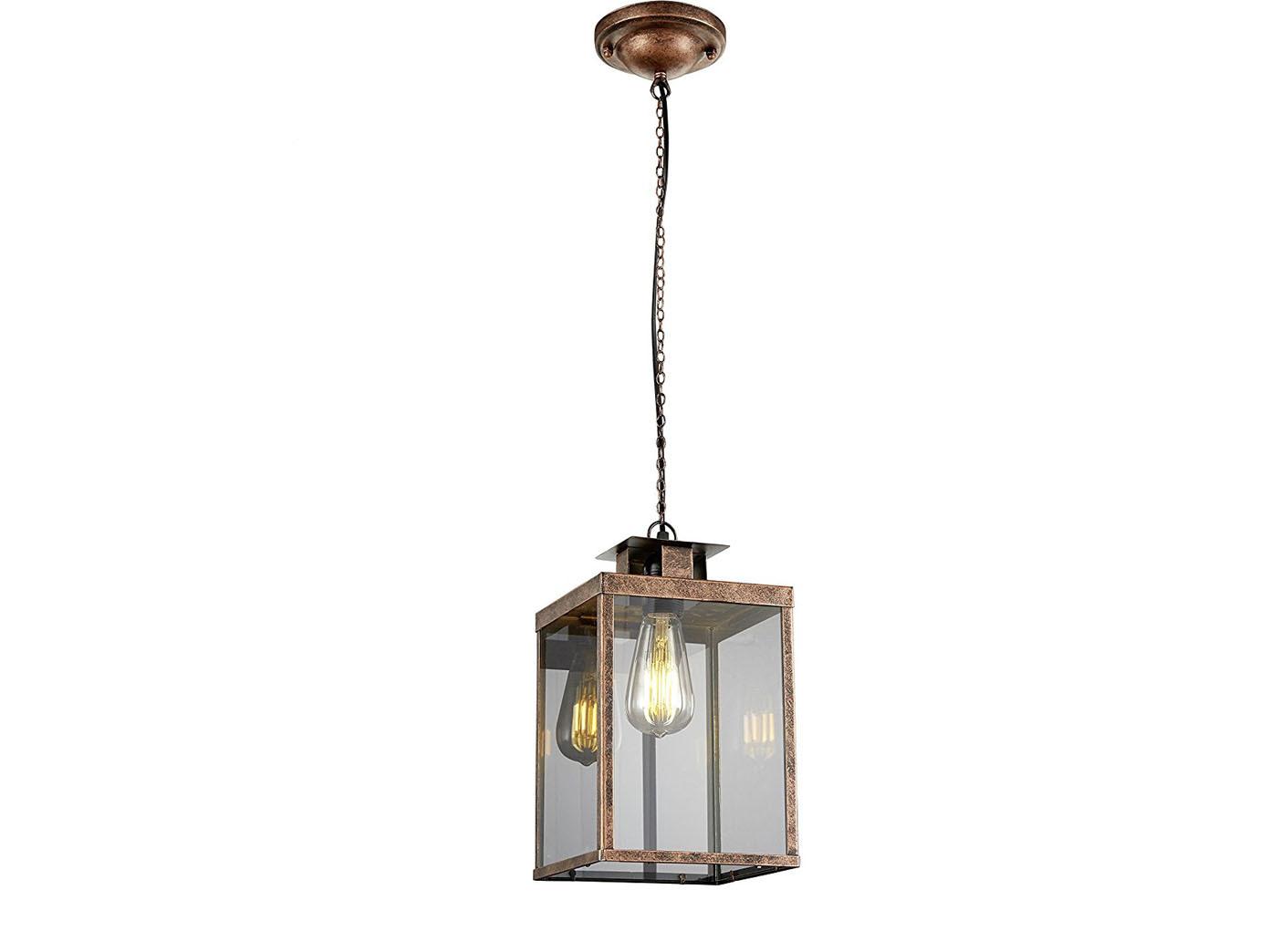 Vintage Pendelleuchte eckig Design Kupfer antik, Glas klar, mit ...
