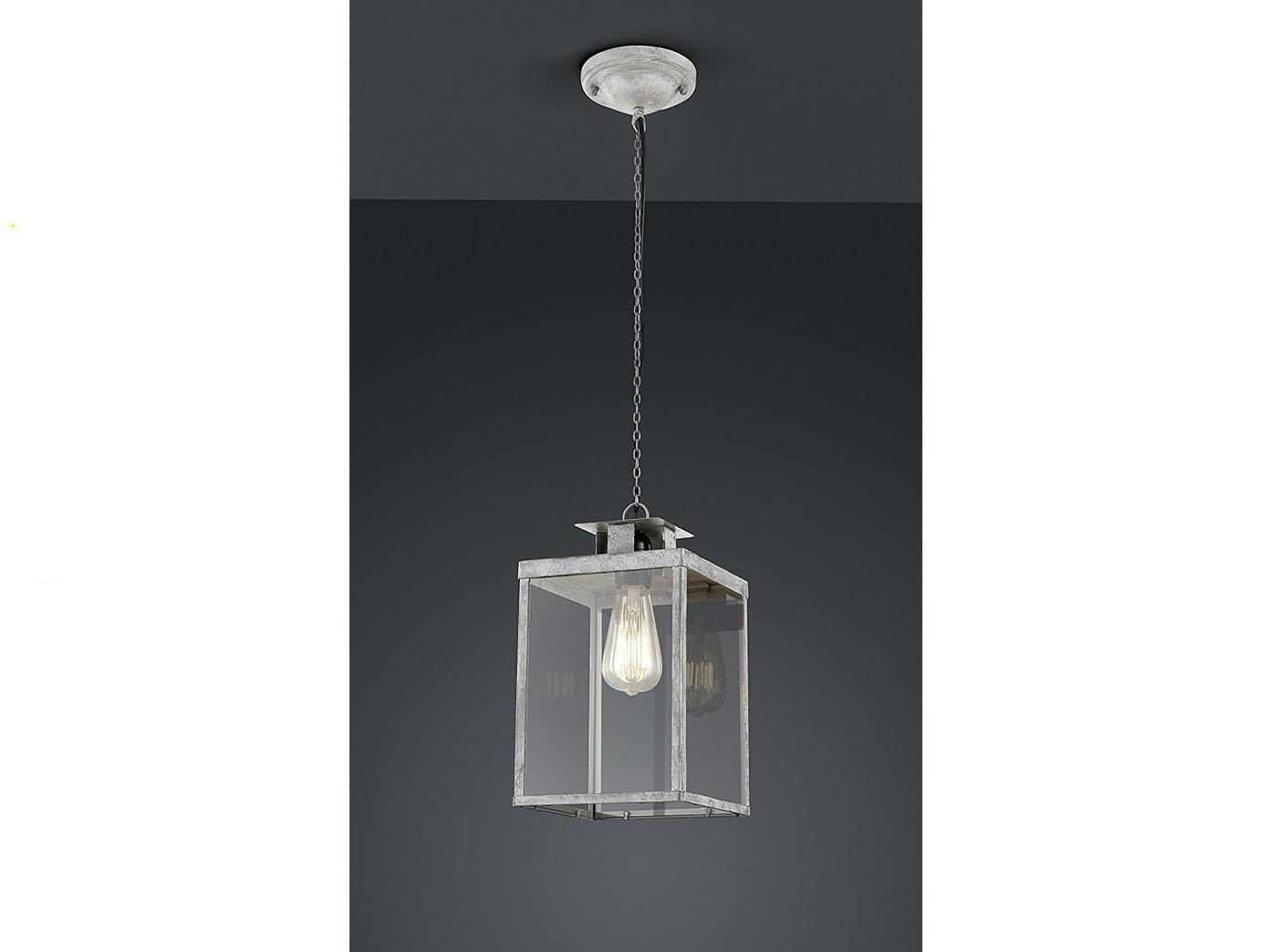 Retro Pendelleuchte eckig Design grau antik, Glas klar, Hängelampe ...