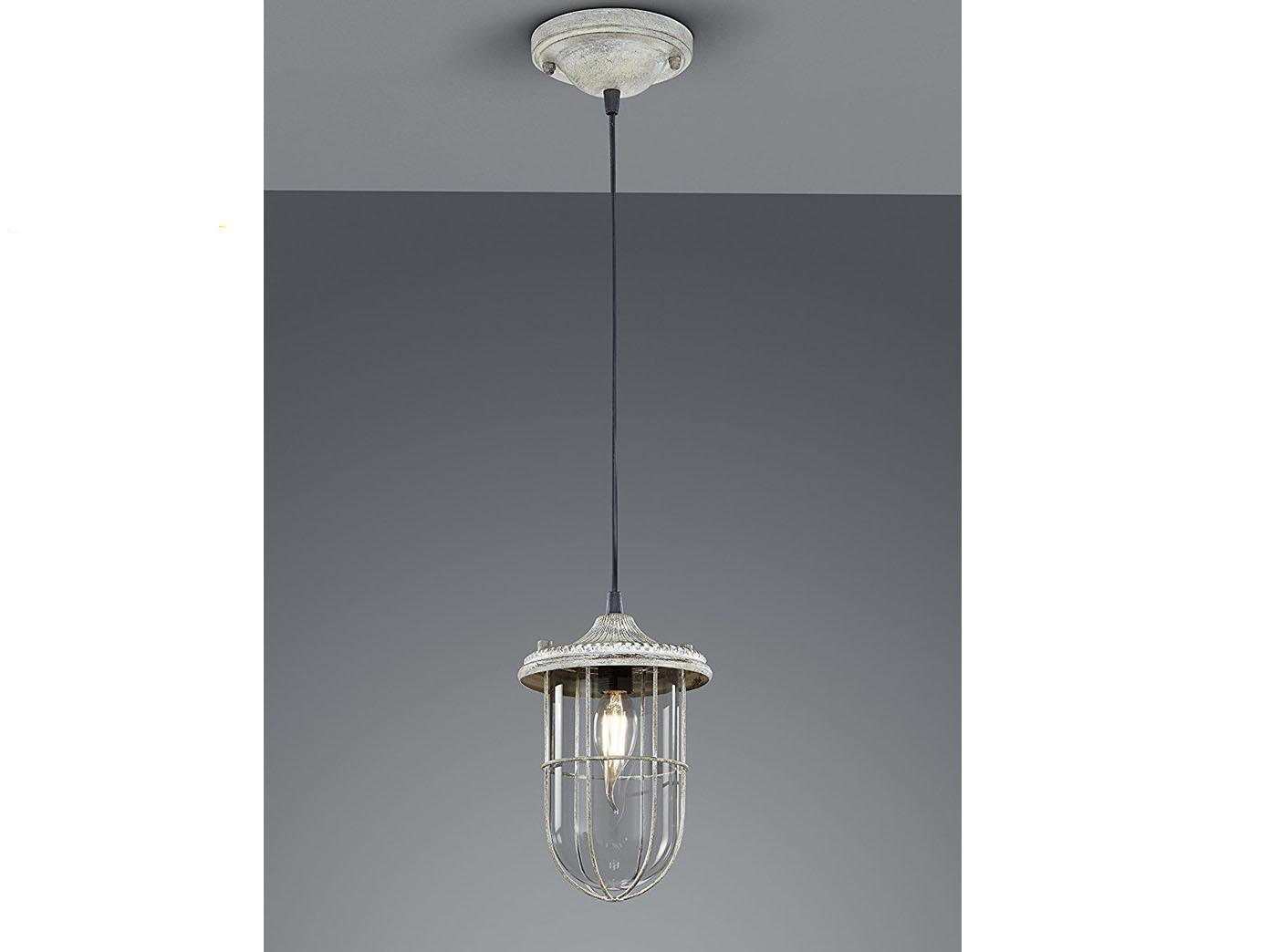 LED Hängelampe grau antik Lampenschirm Glas 14,5cm, Retro Pendelleuchte Vintage