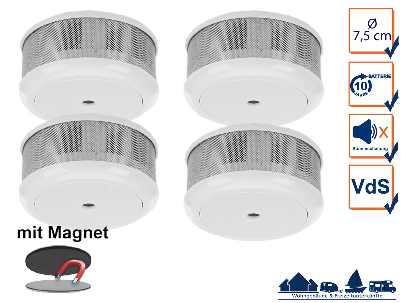 4er set mini 10 jahres rauchwarnmelder magnet set mit vds din en14604 ebay. Black Bedroom Furniture Sets. Home Design Ideas