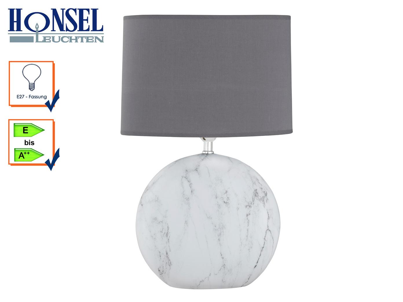 Tischlampe mit Schirm Keramik grau/weiß H.53cm Schlafzimmer ...