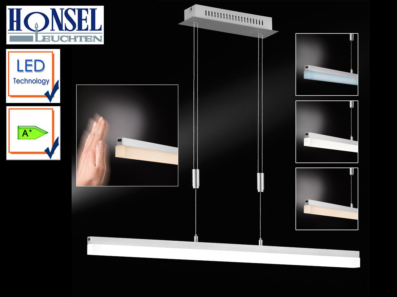 led pendelleuchte nickel matt l 90 cm dimmbar gestensteuerung design lampen ebay. Black Bedroom Furniture Sets. Home Design Ideas