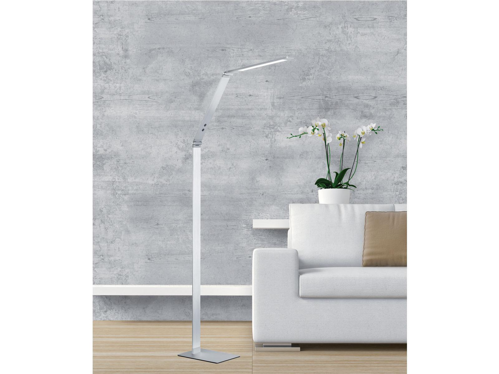 LED-Stehleuchte-Leselampe-Alu-verstellbar-Dimmer-amp-4-Lichtfarben-Buerolampe