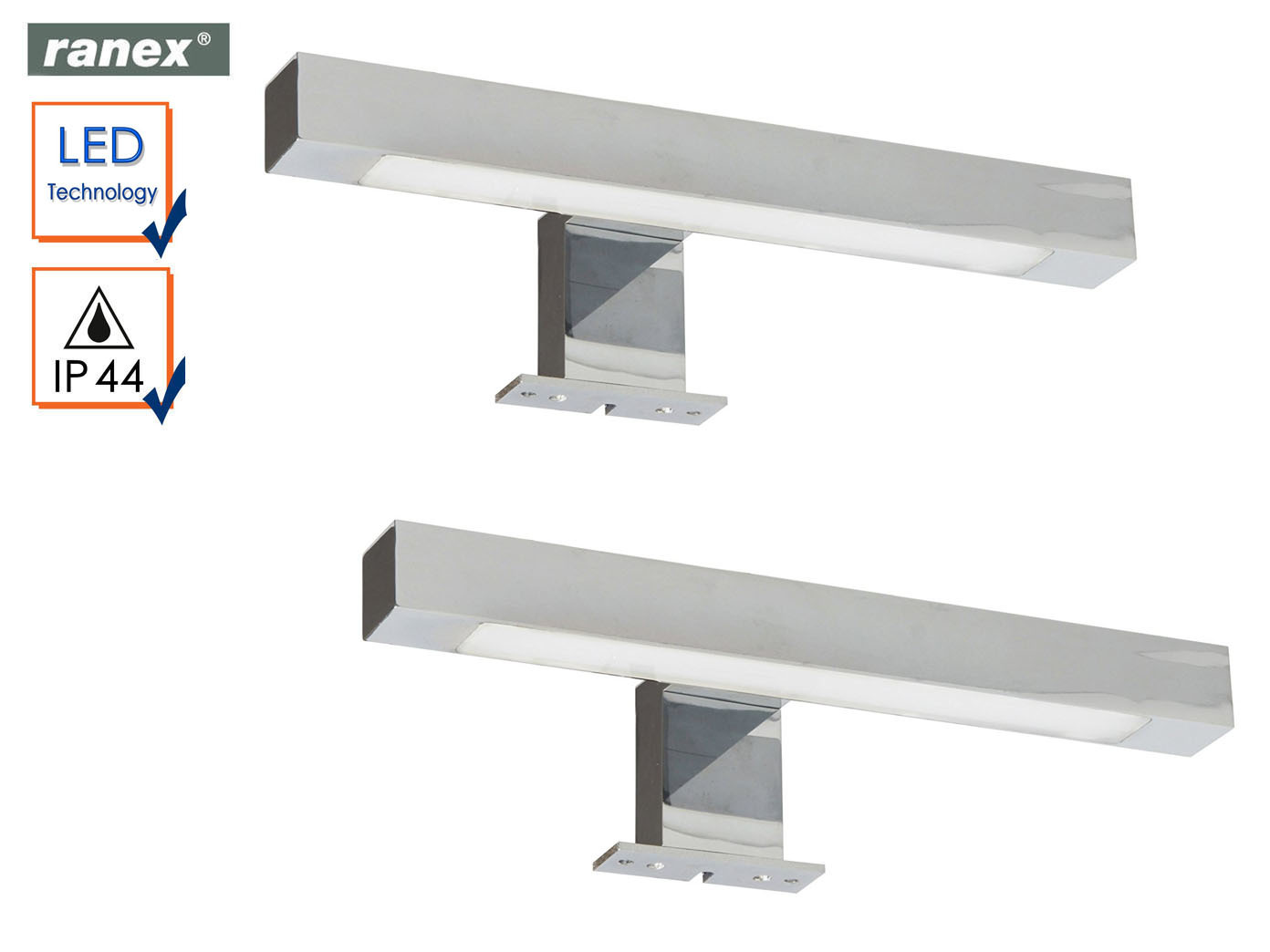 2er Set moderne, Chrom glänzende LED Spiegelleuchten fürs Badezimmer ...