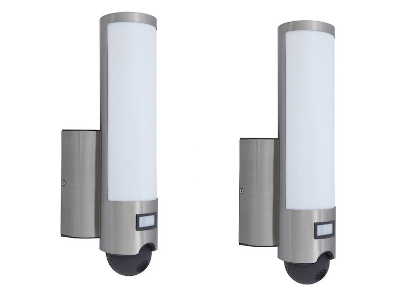 2er set led au enleuchte wandlampe mit bewegungsmelder kamera t rsprechanlage 4260529936662. Black Bedroom Furniture Sets. Home Design Ideas