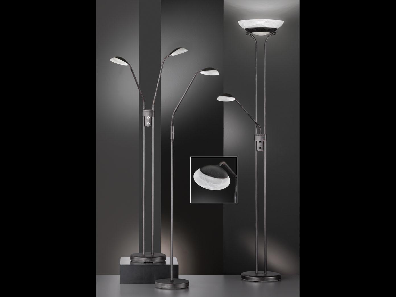 design led deckenfluter dimmbar mit leselampe rostfarbig stehlampe mit leselicht ebay. Black Bedroom Furniture Sets. Home Design Ideas