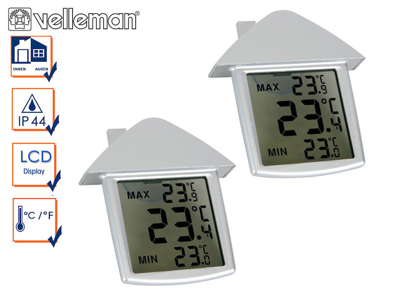 kombi pack innen und au enthermometer fensterthermometer mit min max funktion 4260529936938 ebay. Black Bedroom Furniture Sets. Home Design Ideas