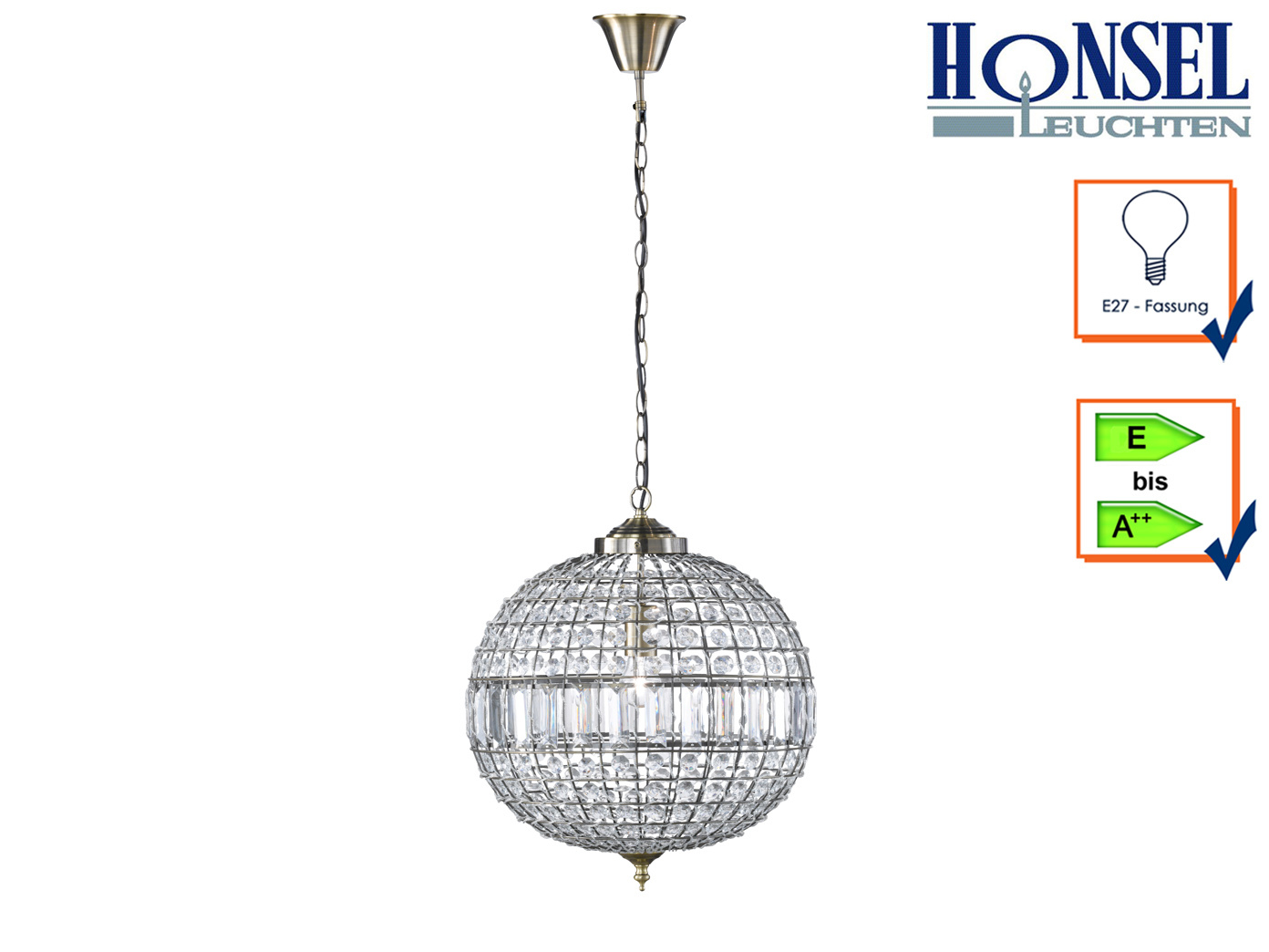Design Pendelleuchte Altmessing Acrylglas O 45cm Deckenbeleuchtung