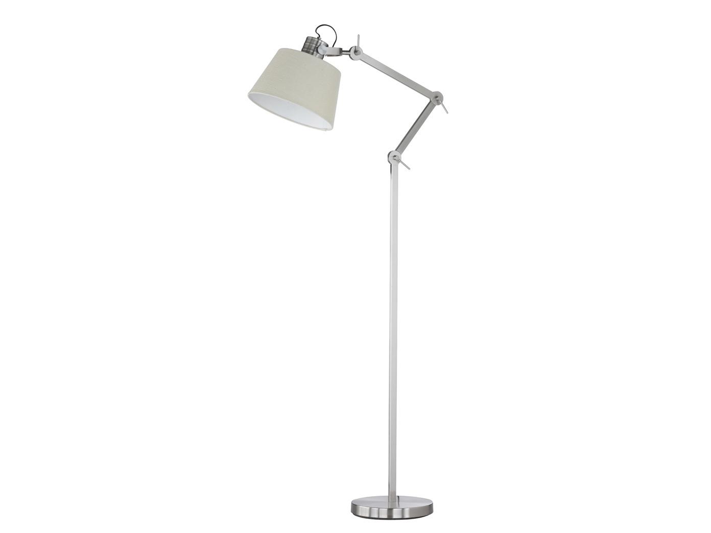 Stehlampe Mit Schirm Schwenkbar Nickel Matt H 148cm Burolampen
