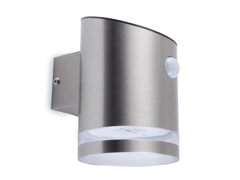 led solar au enleuchte mit bewegungsmelder edelstahl wandlampe ip44 downlight ebay. Black Bedroom Furniture Sets. Home Design Ideas