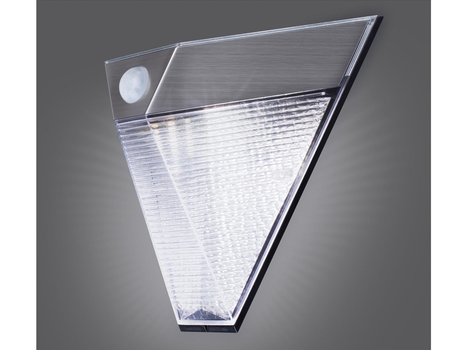 2x led solar außenleuchte bewegungsmelder edelstahl dreieckig