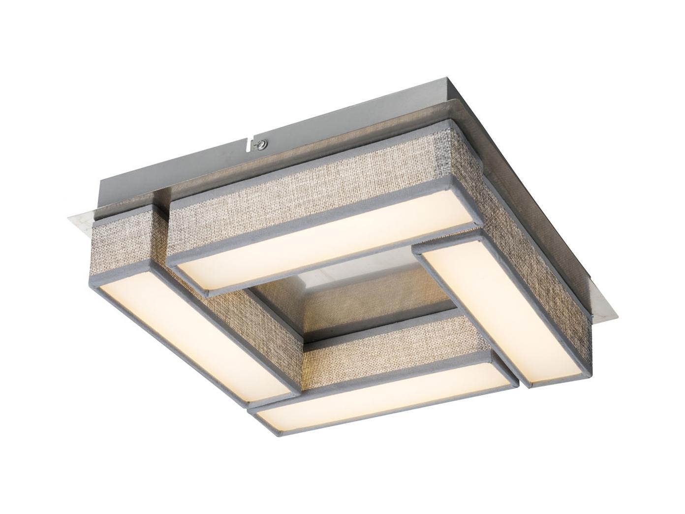 Moderne Led Deckenleuchte Paco 30x30 Cm Textil Grau Deckenlampe
