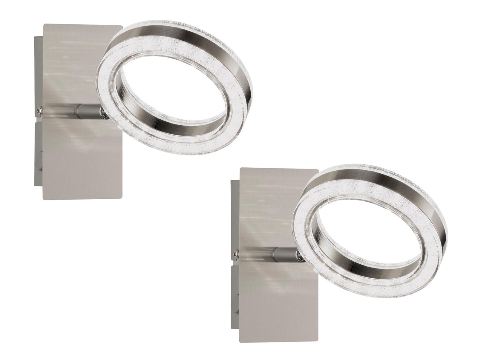 2er Set LED Wandleuchte Spot drehbar Nickel matt, Wandstrahler Wohnzimmerlampe
