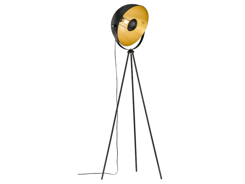 Retro Stehleuchte Schwarz / Gold schwenkbar Höhe 160cm, Standlampe ...