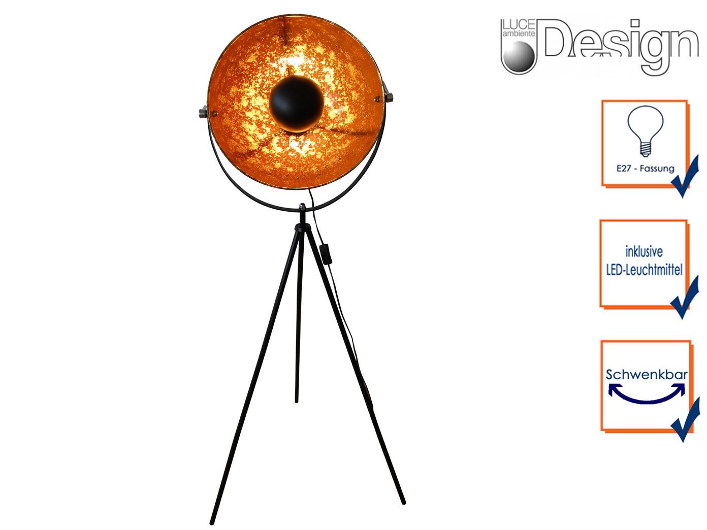 Design Stehleuchte mit LED Schwarz/Gold, H. 145cm, Wohnzimmerlampe ...