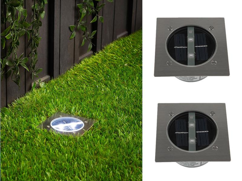 2er set ranex solar led bodeneinbaustrahler au en edelstahl eckig bodenleuchte ebay. Black Bedroom Furniture Sets. Home Design Ideas
