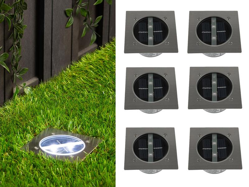 6er set ranex solar led bodeneinbaustrahler au en edelstahl eckig bodenleuchte ebay. Black Bedroom Furniture Sets. Home Design Ideas